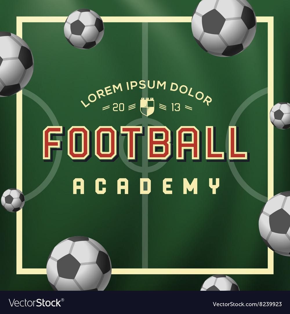 Football academy soccer ball on field