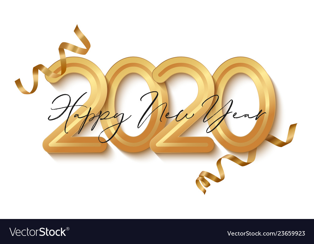 Happy new year banner with gold 2020 numbers