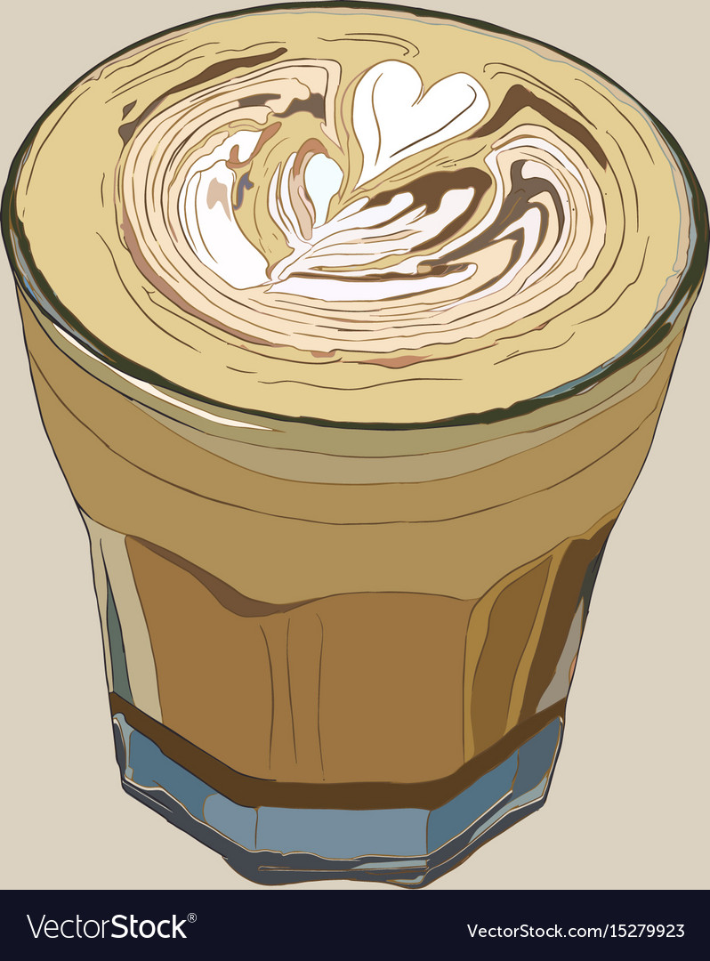Hot coffee with latte art sketch vecrtor