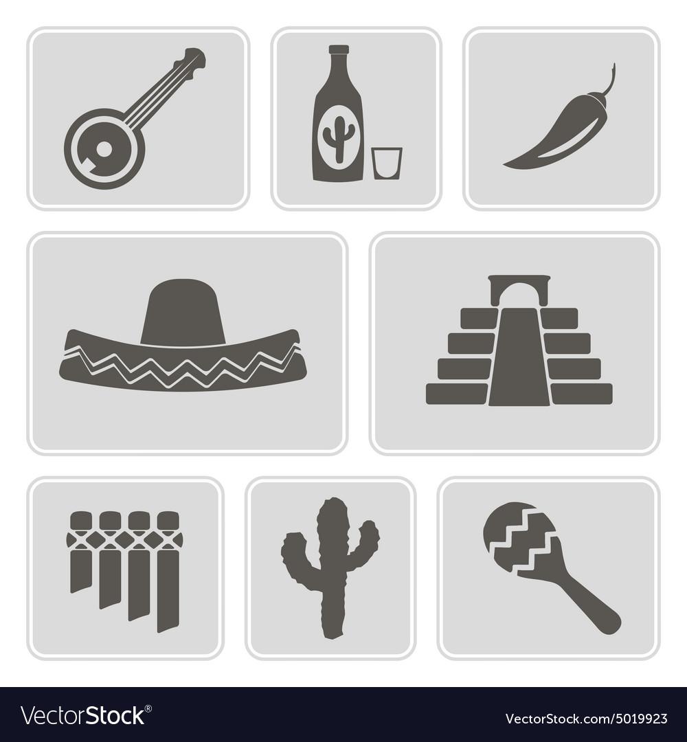 Monochrome icons with symbols of Mexico