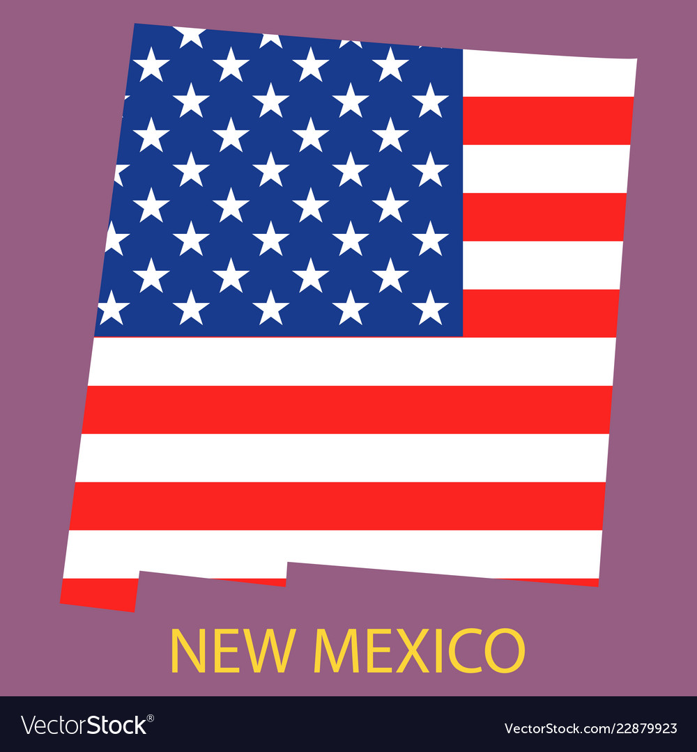 New mexico state of america with map flag print Vector Image