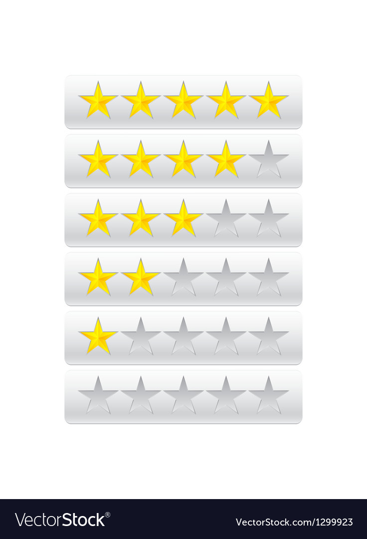 Rating stars isolated on gray vector image