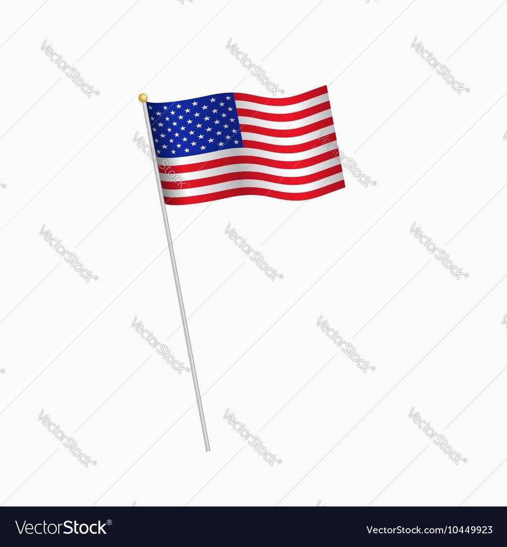 United States of America flag on white background
