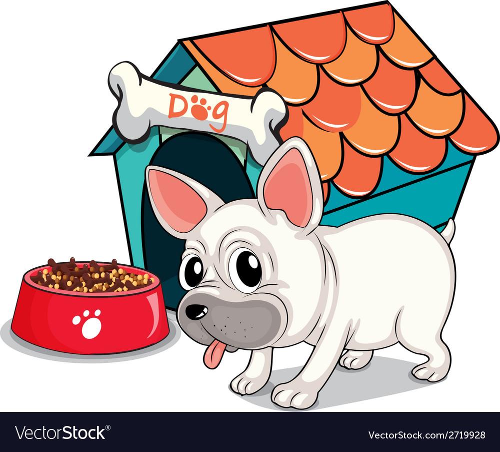 A cute bulldog outside the doghouse