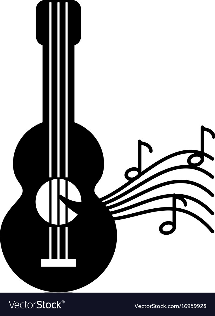 Acoustic Guitar With Music Notes Royalty Free Vector Image