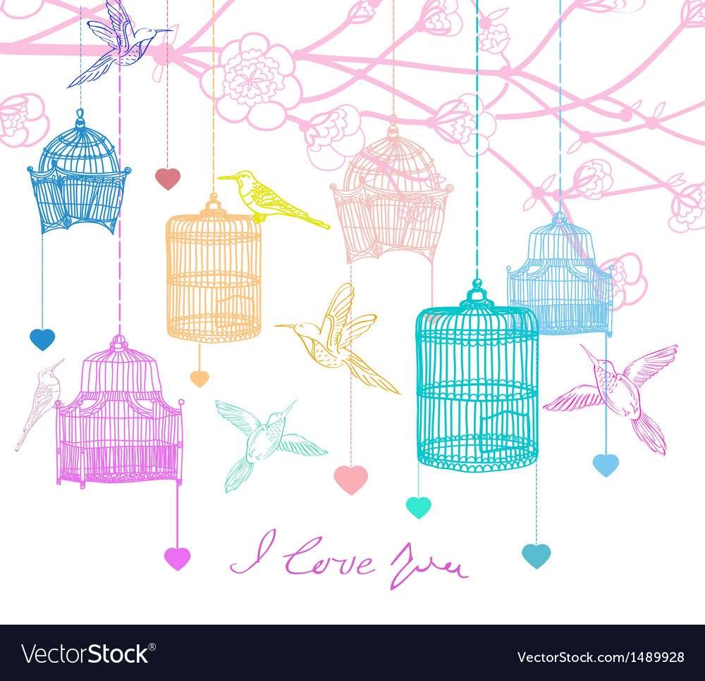Background with birds and cages
