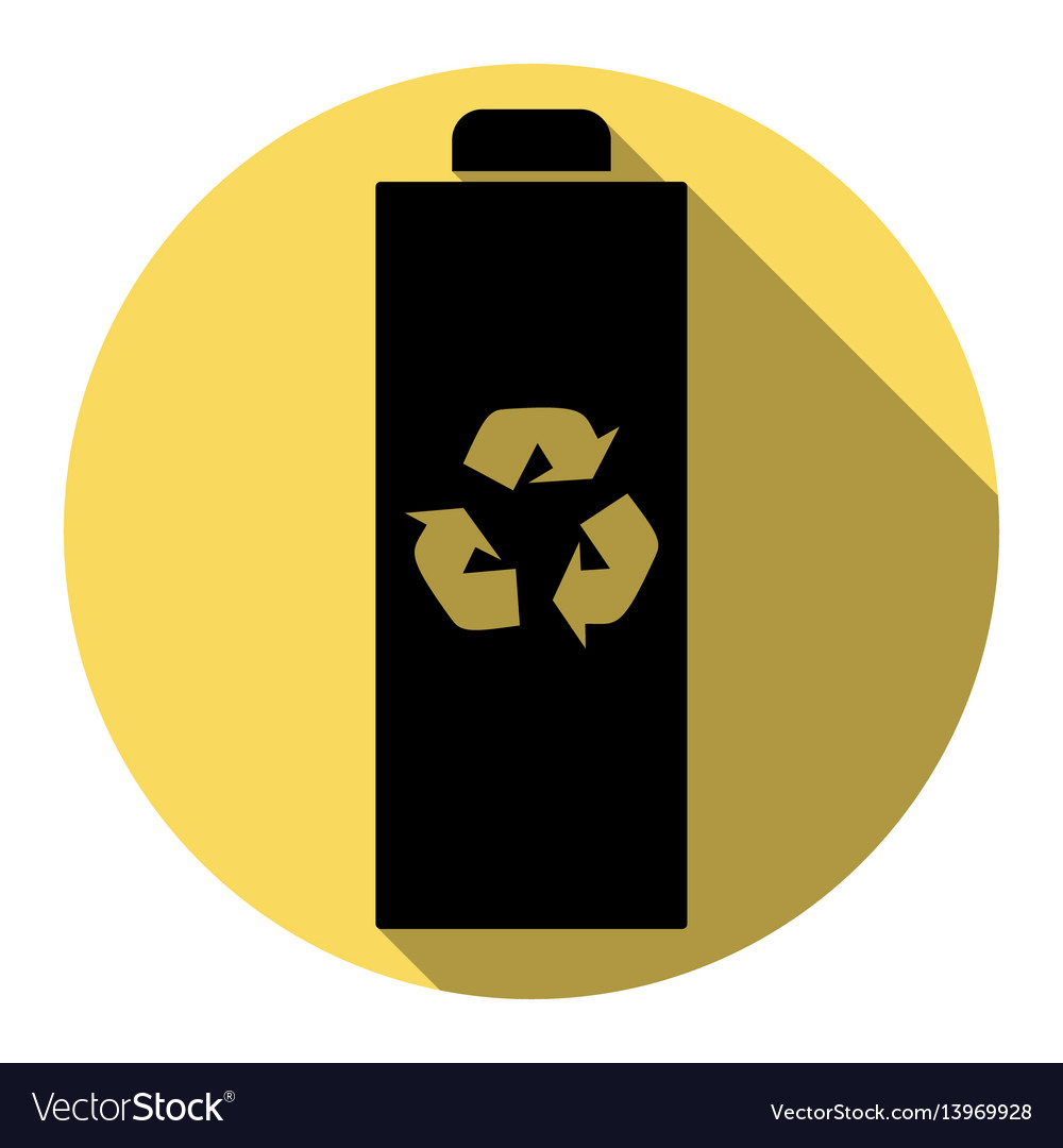 Battery recycle sign flat