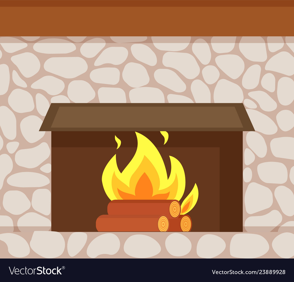 Burning Fire Wooden Logs Fireplace Made