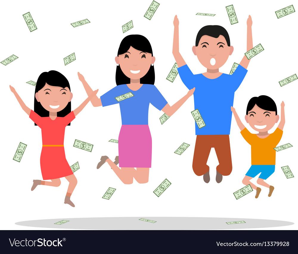 Cartoon happy family falling on top money