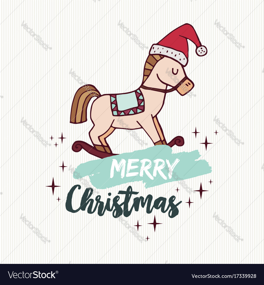 Christmas Horse Cartoon.Christmas Rocking Horse Toy Holiday Cartoon Card