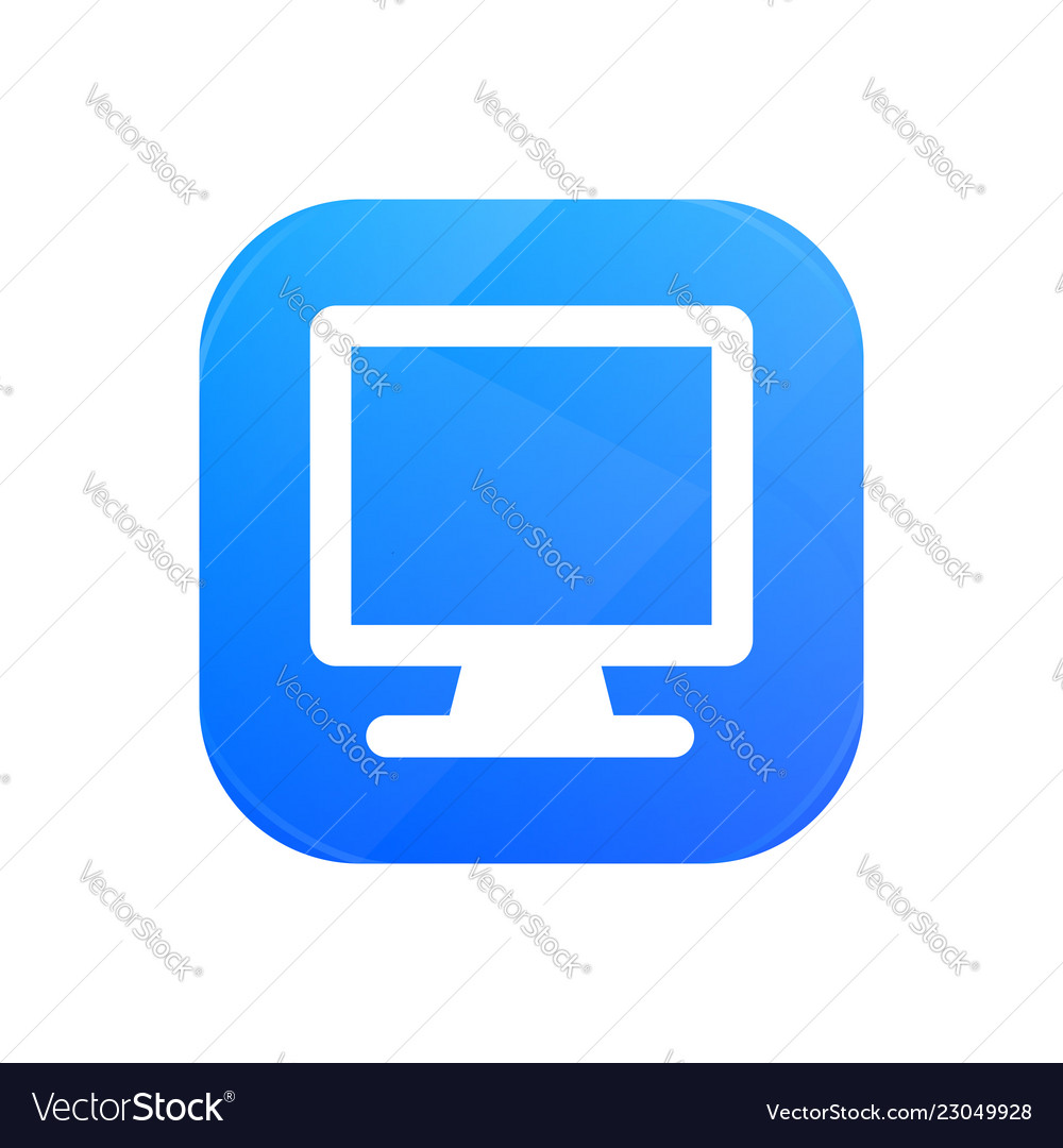 Computer flat icon monitor glossy icon isolated