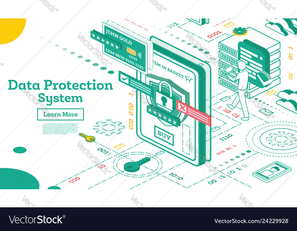 Data protection system isometric cyber security