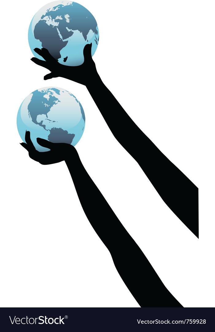 Earth people hands vector image