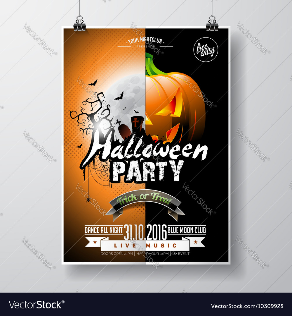 Halloween party flyer with pumpkin and moon