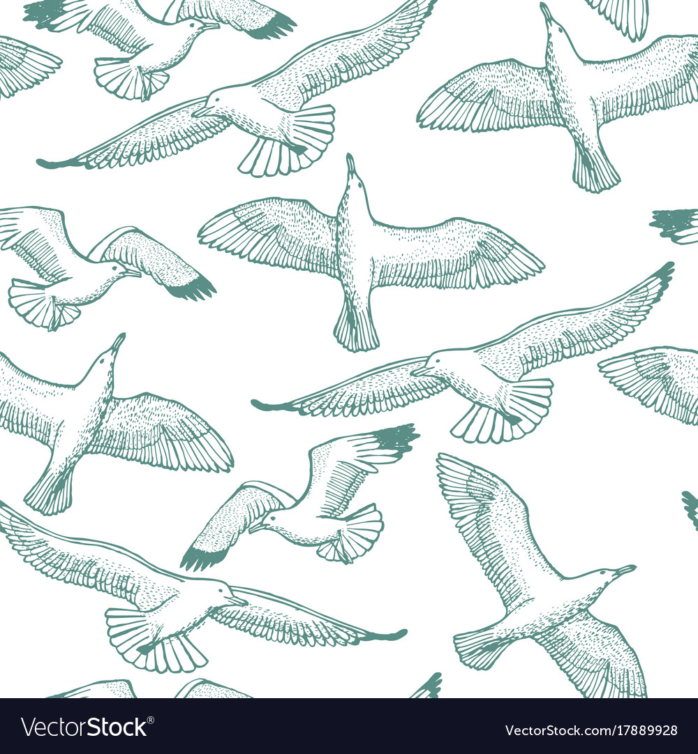 Light seagull seamless hand drawn pattern