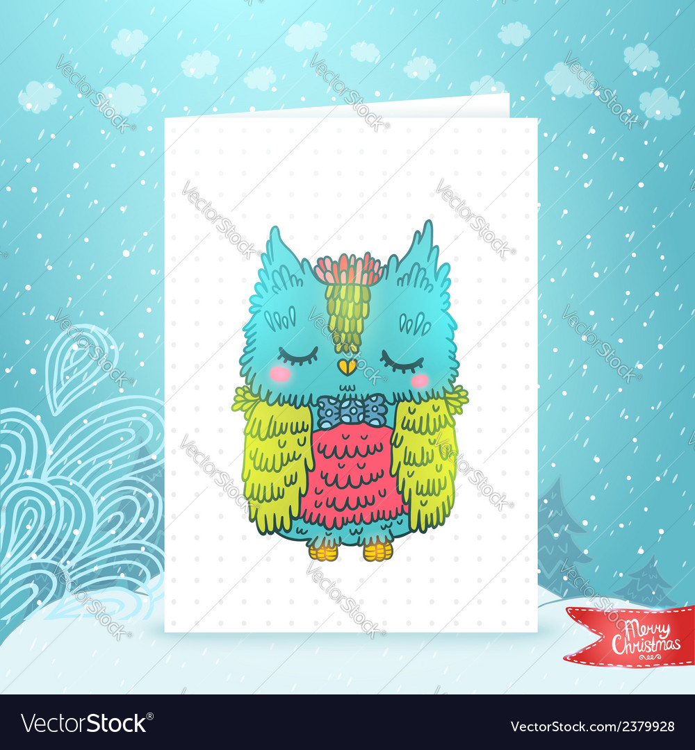 Merry Christmas greeting card with an owl