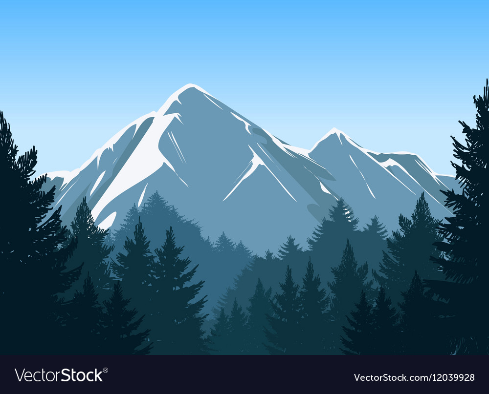 Mountains with pine forest background