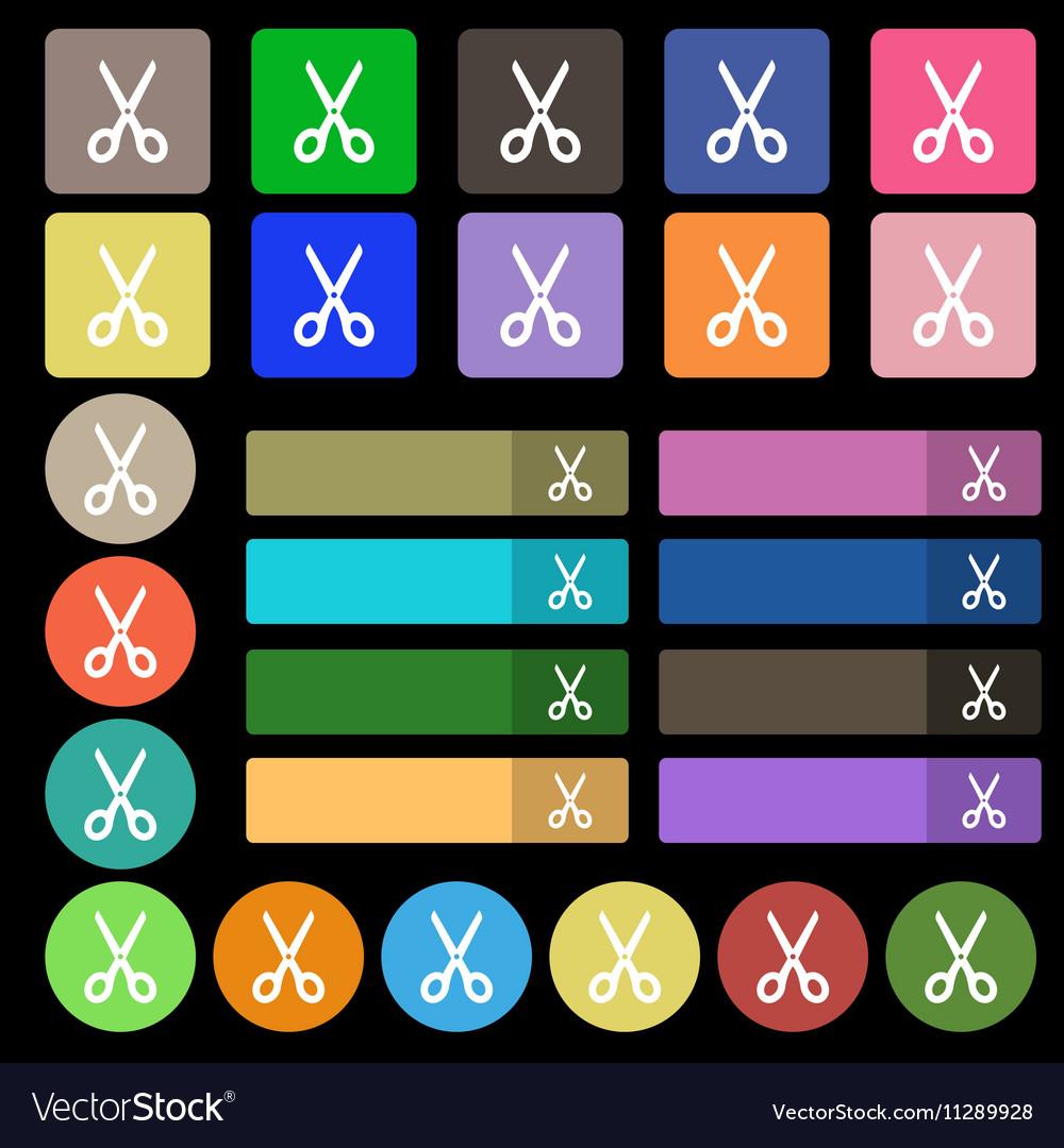 Scissors icon sign Set from twenty seven vector image