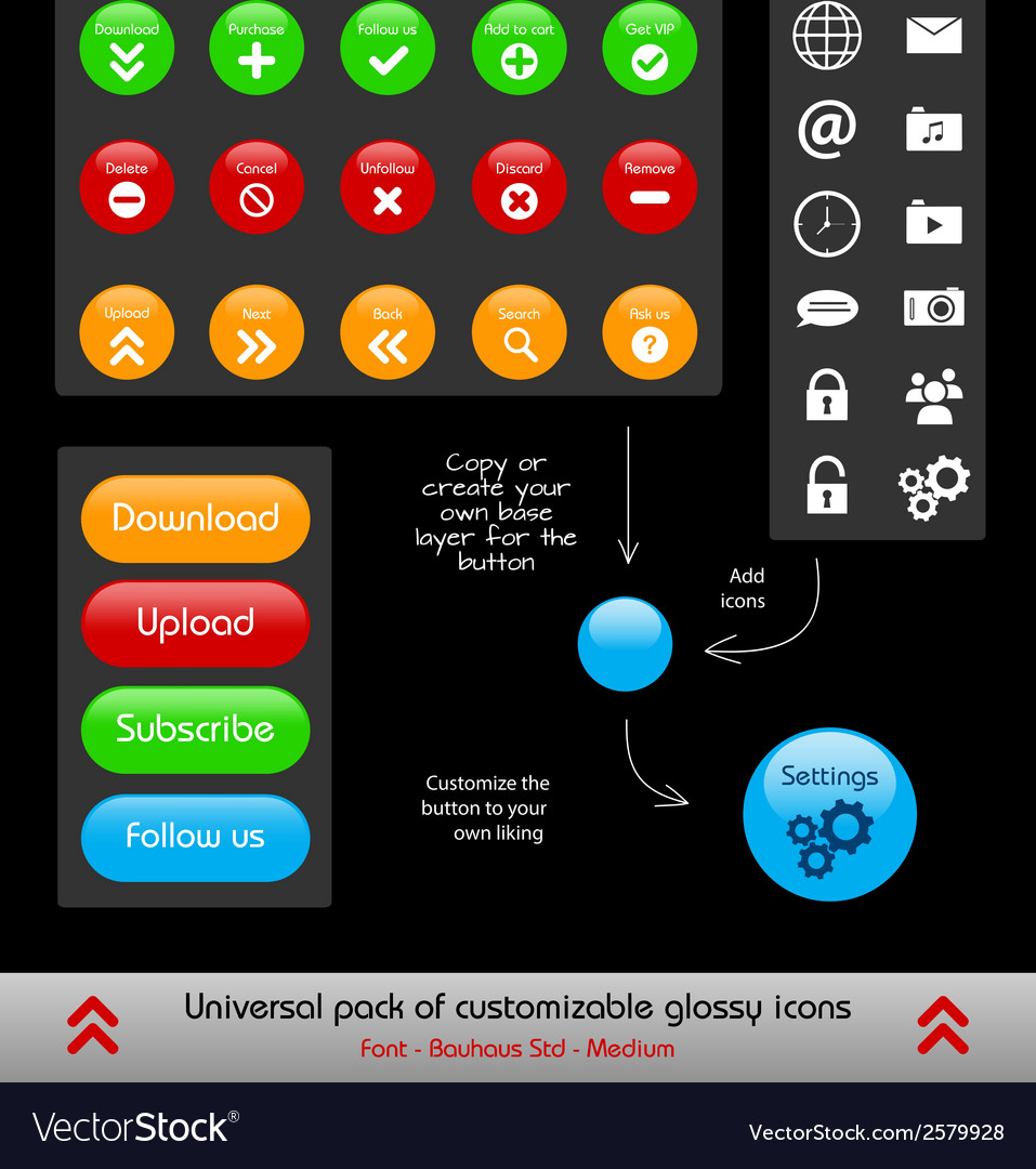 Set of customizable web and phone app buttons