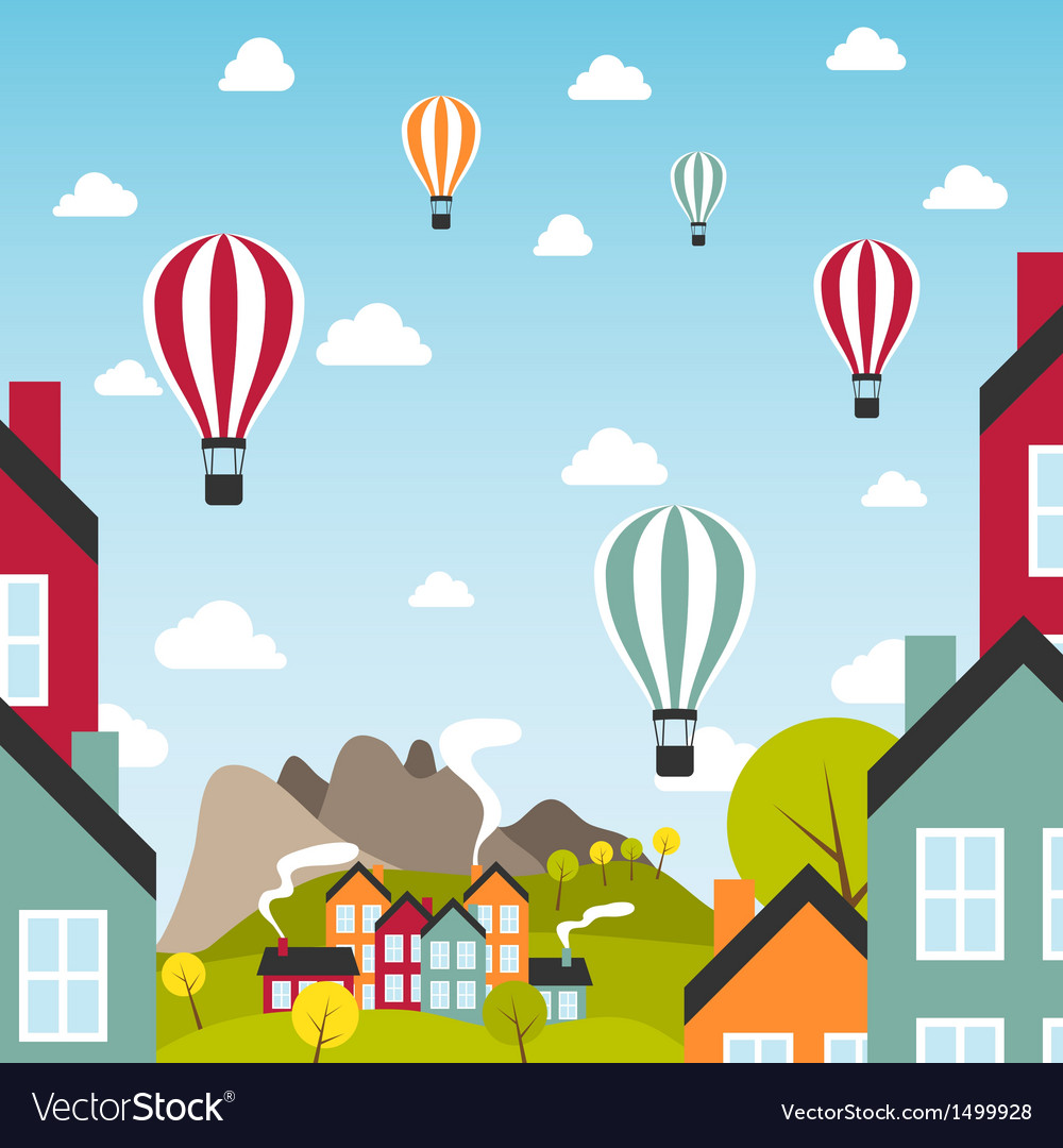 Small town with air balloons