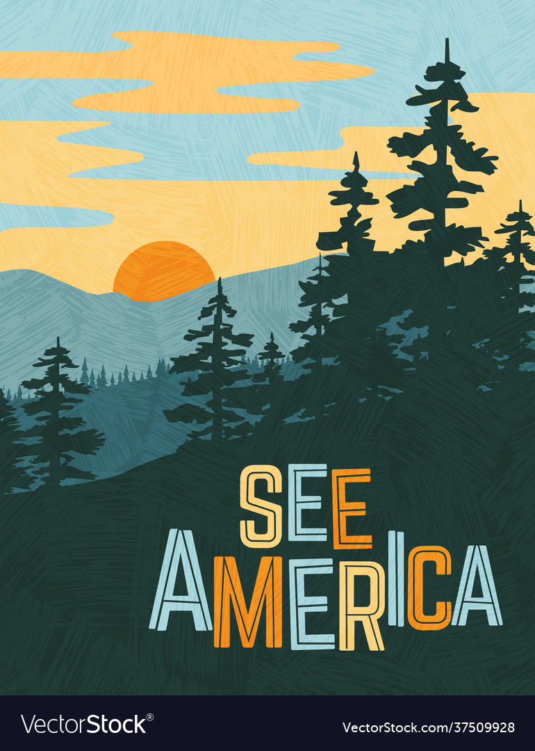 Usa travel poster mountains and pine trees