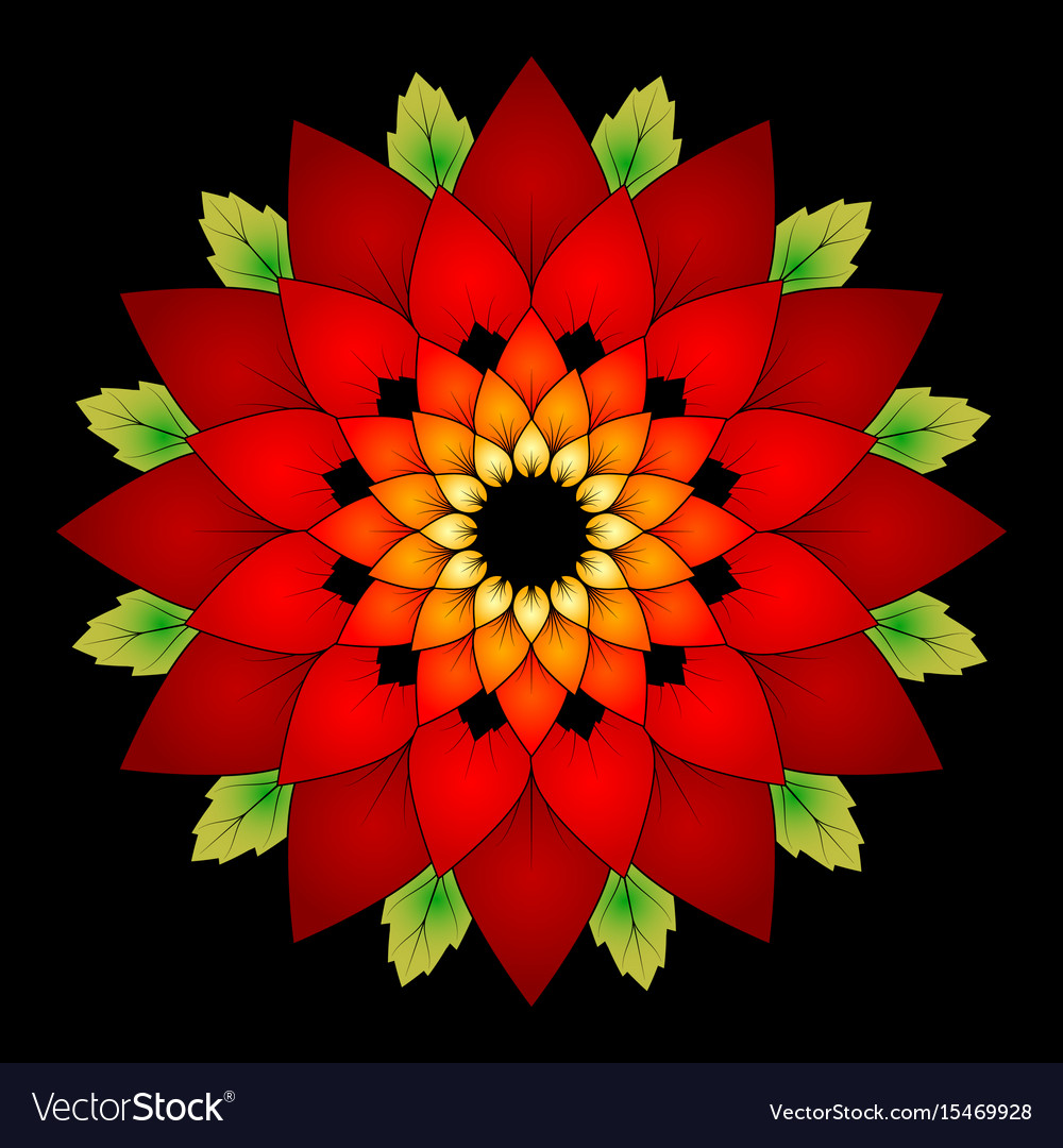 Vibrant red colored round floral natural mandala