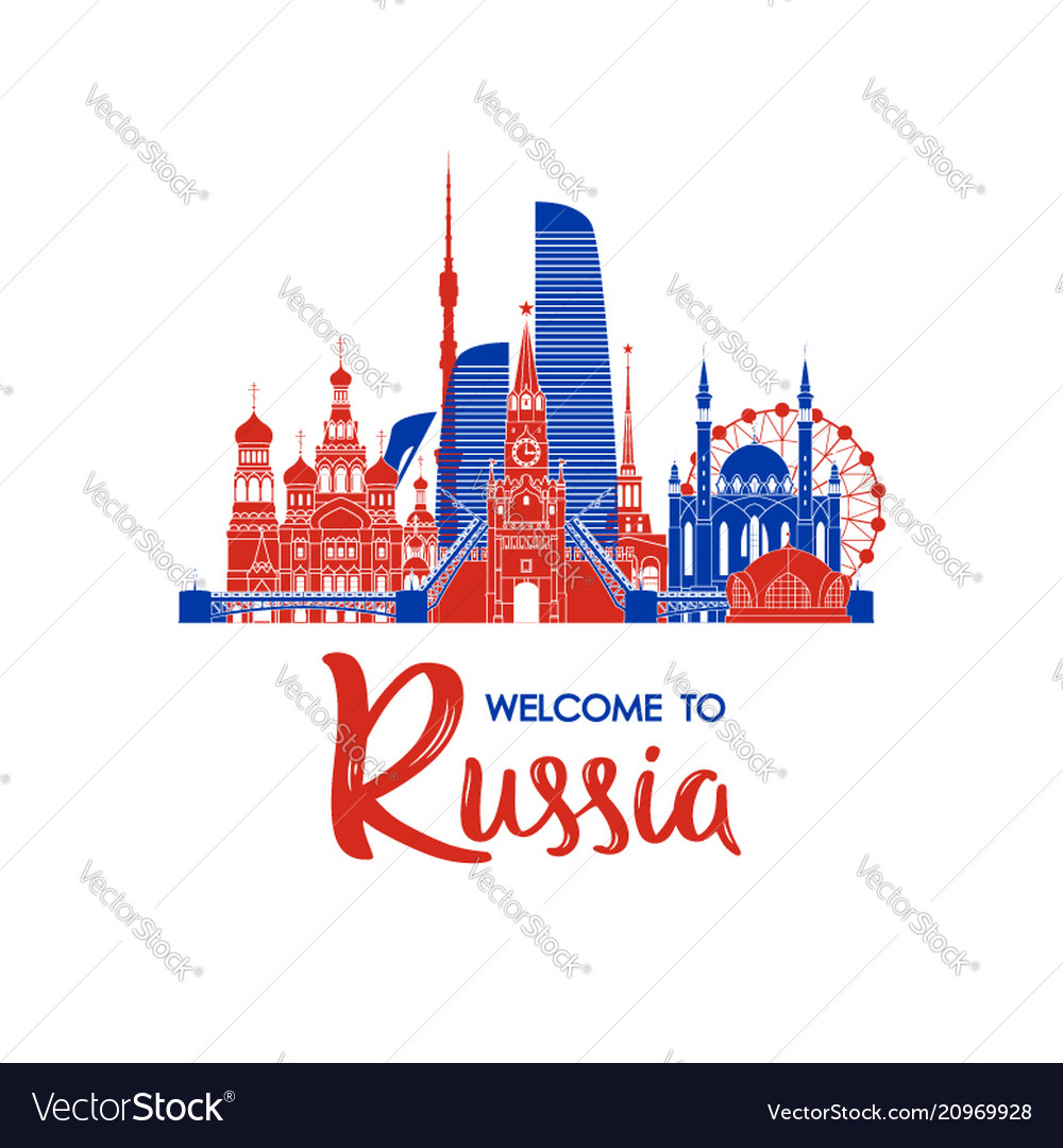 Welcome to russia greeting banner russian