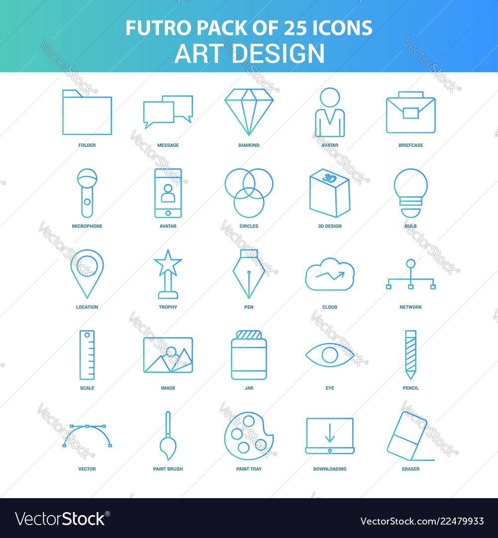 25 green and blue futuro art and design icon pack