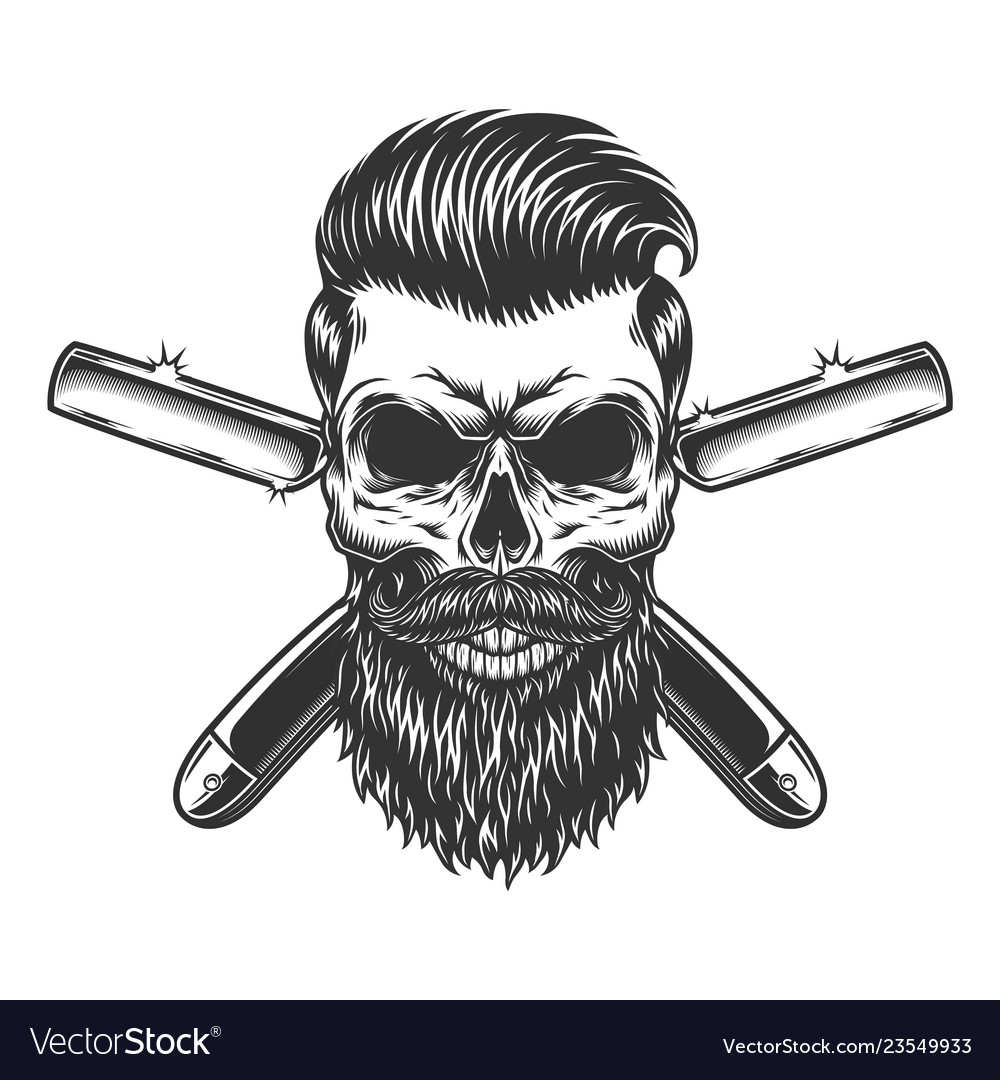 Bearded And Mustached Barber Skull Royalty Free Vector Image