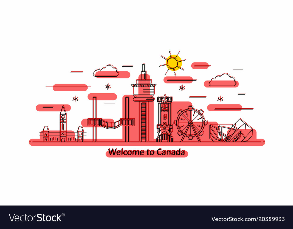 Canada panorama line style vector image