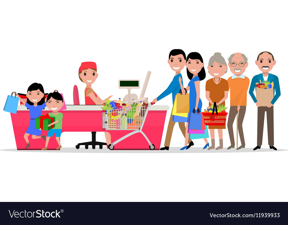Cartoon people doing shopping supermarket