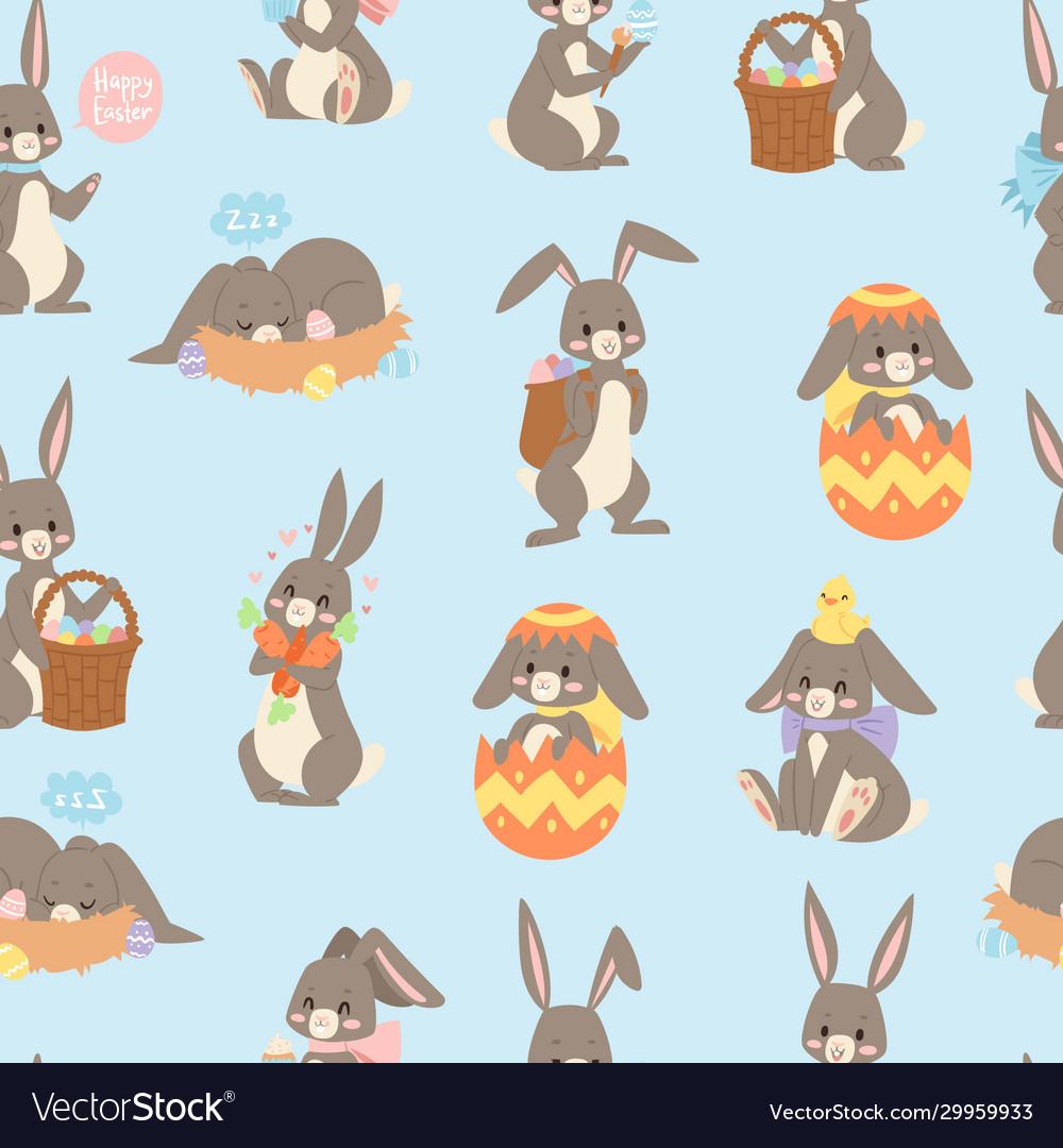 Easter rabbit seamless pattern background