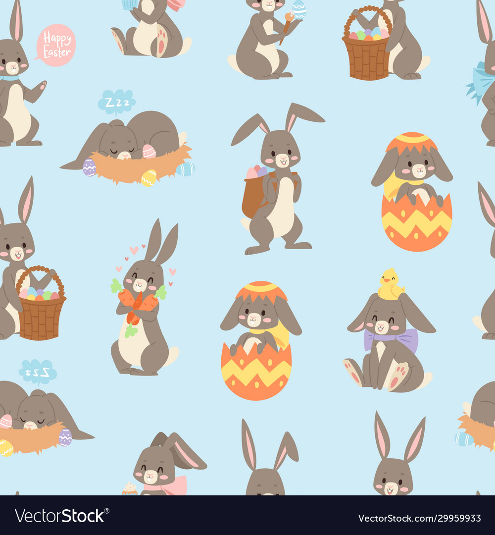 Easter rabbit seamless pattern background with