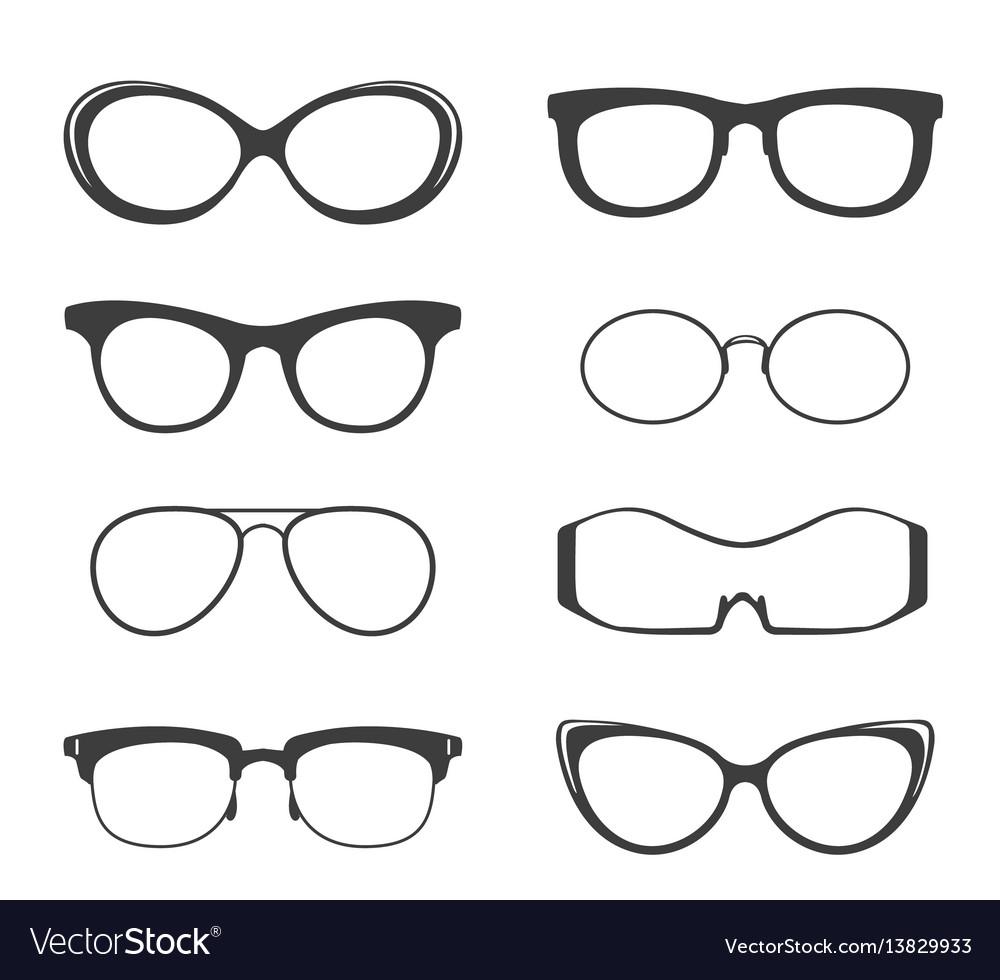 Glasses black silhouette set