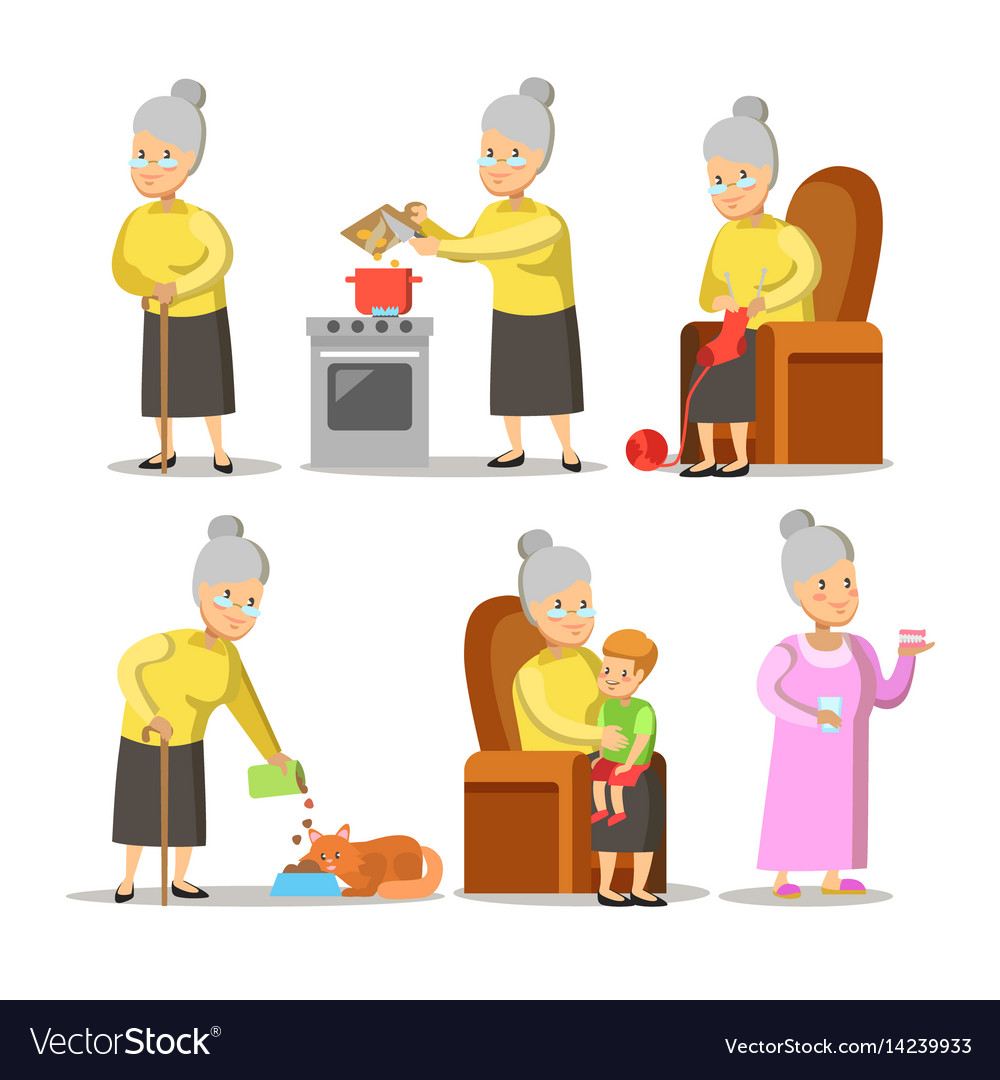 Happy grandmother with grandson cartoon