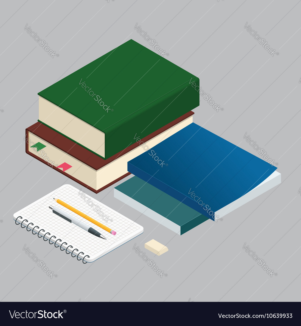 Isometric Books on the background of the school