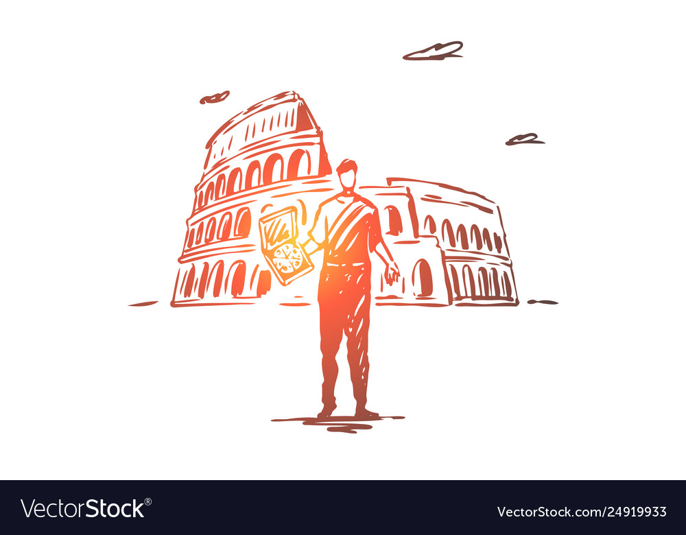 Italy country pizza colosseum rome concept