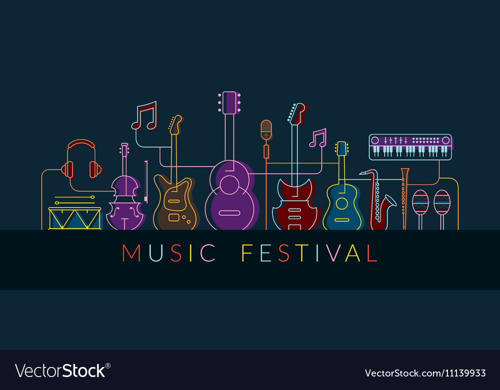 Music Instruments Objects Background Line Design