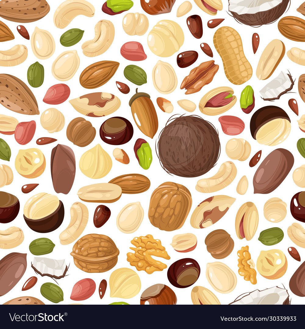 Nuts seamless pattern pecan and almond macadamia