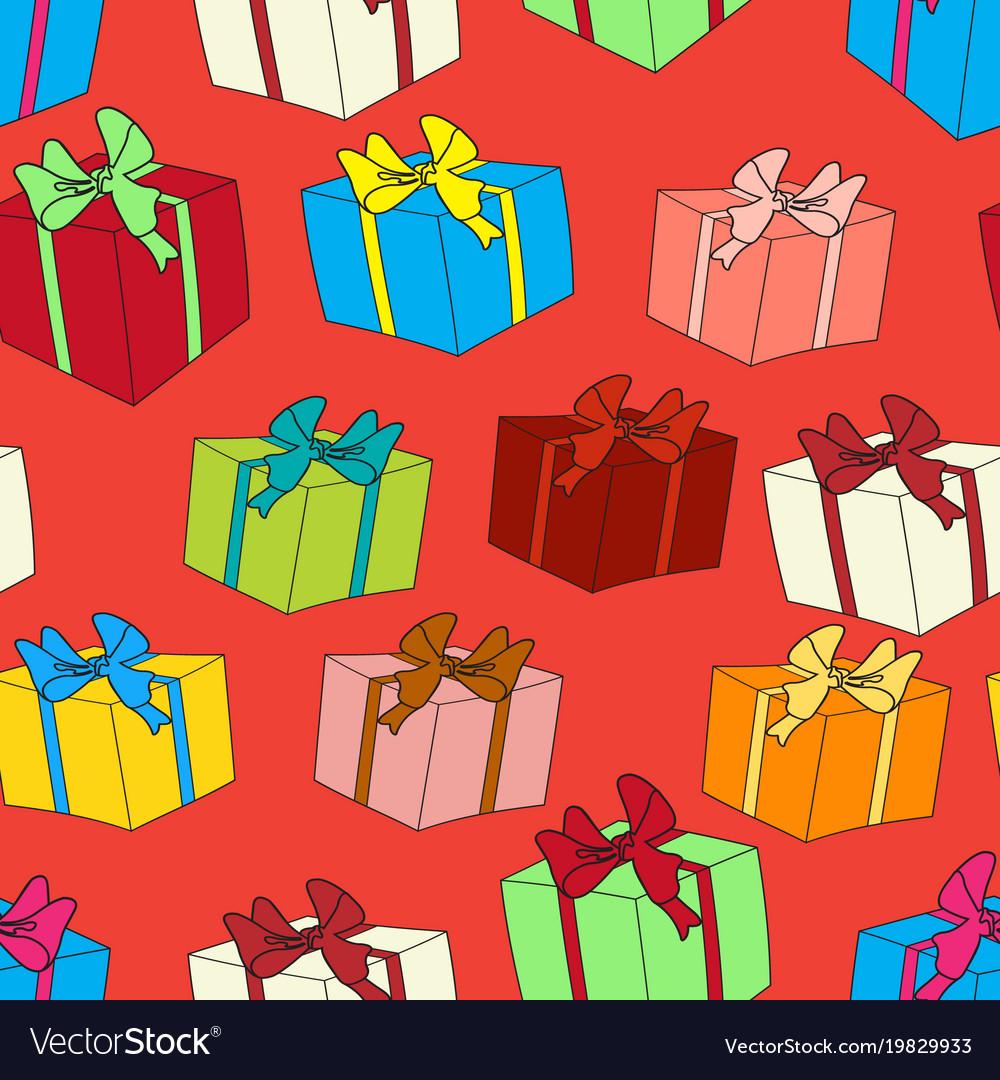 Seamless background with color gift boxes