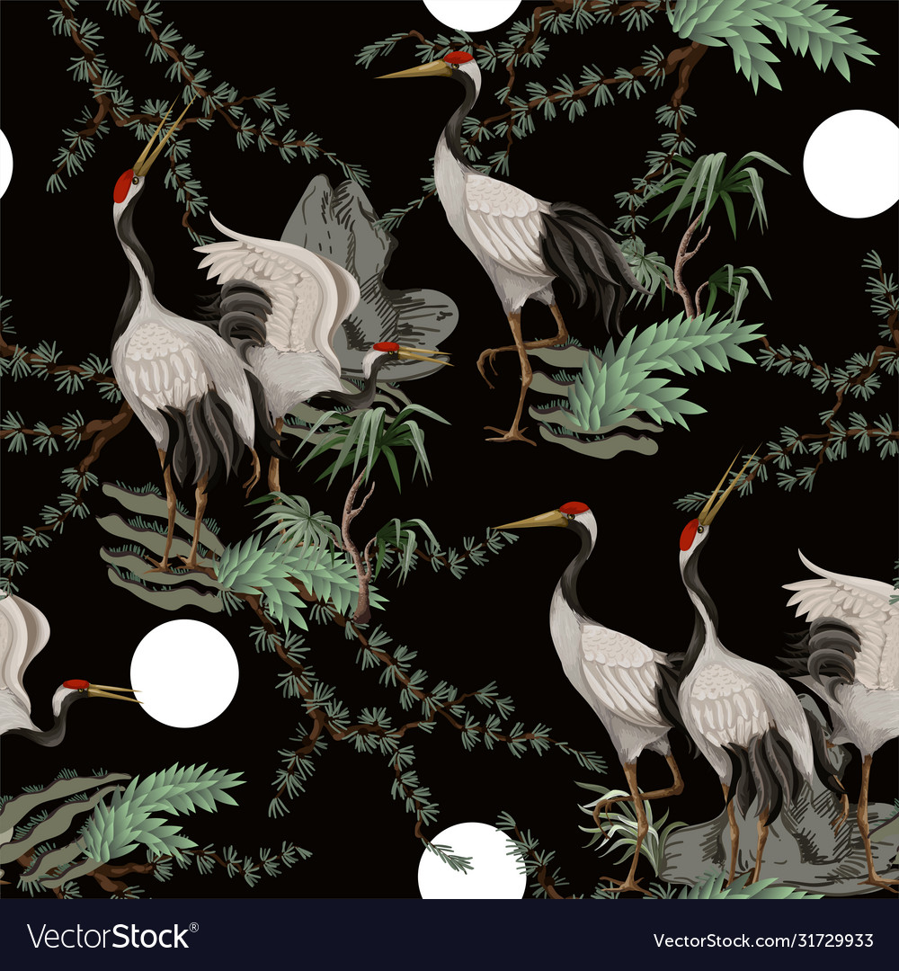 Seamless pattern with japanese white cranes