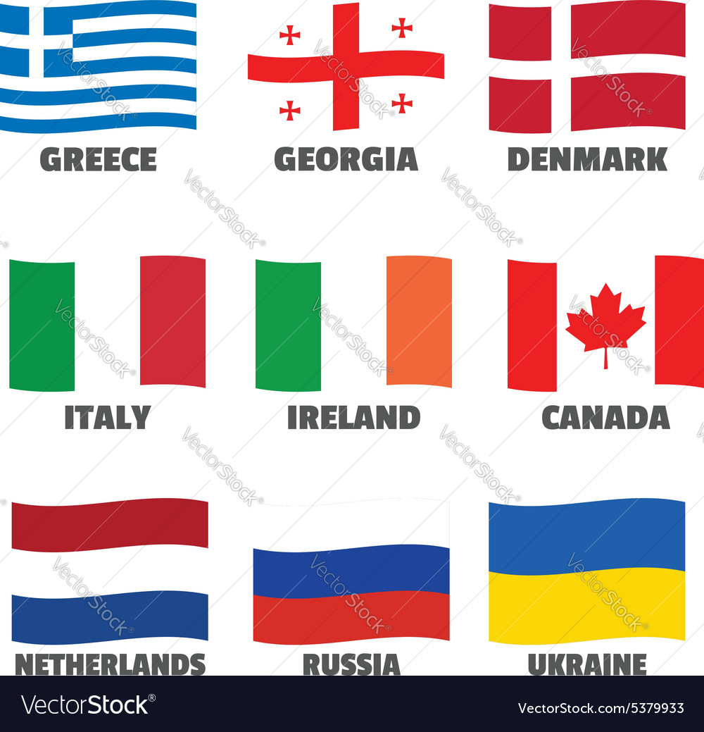 Set of wave national flags with title for web vector image