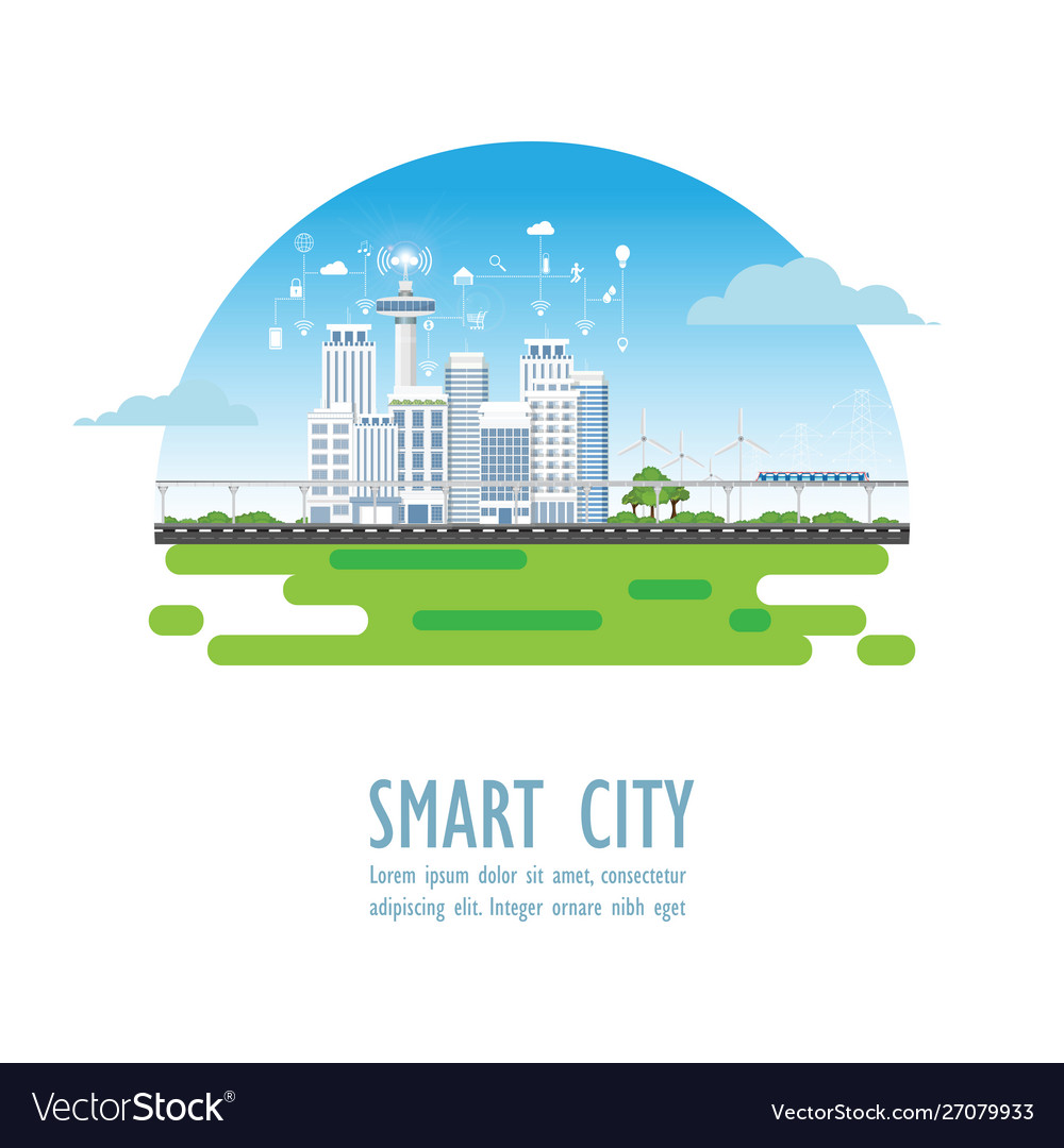 Smart city with different icons and elements