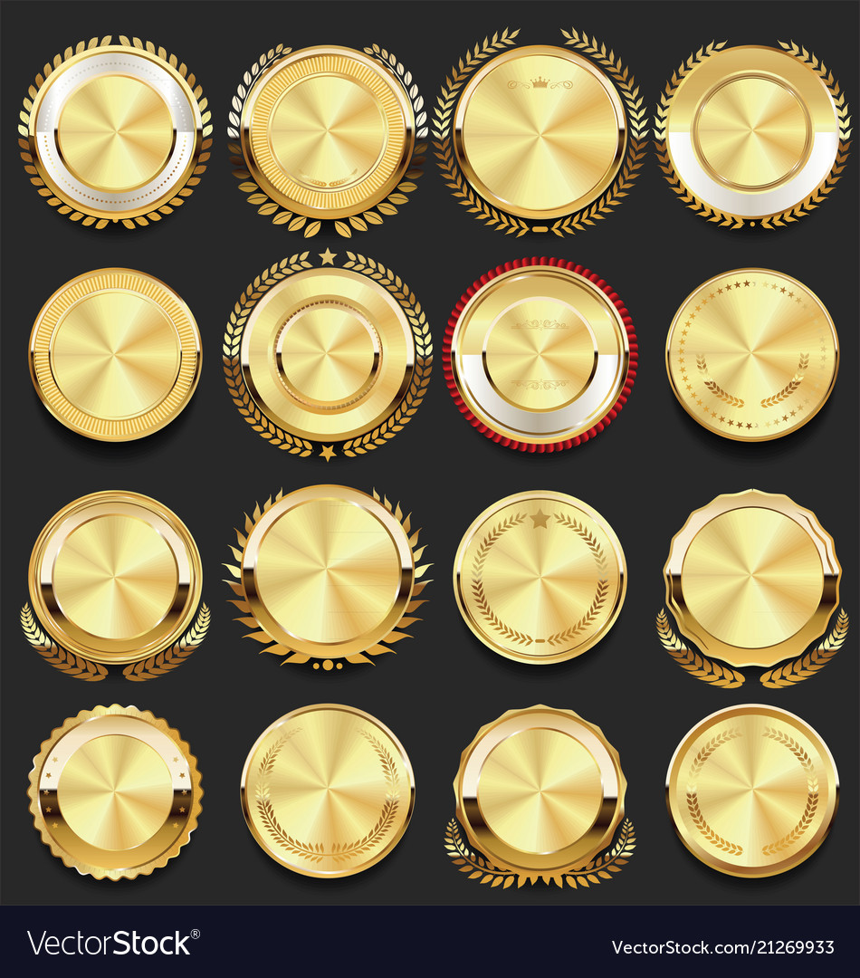 Super glossy collection of golden retro vintage