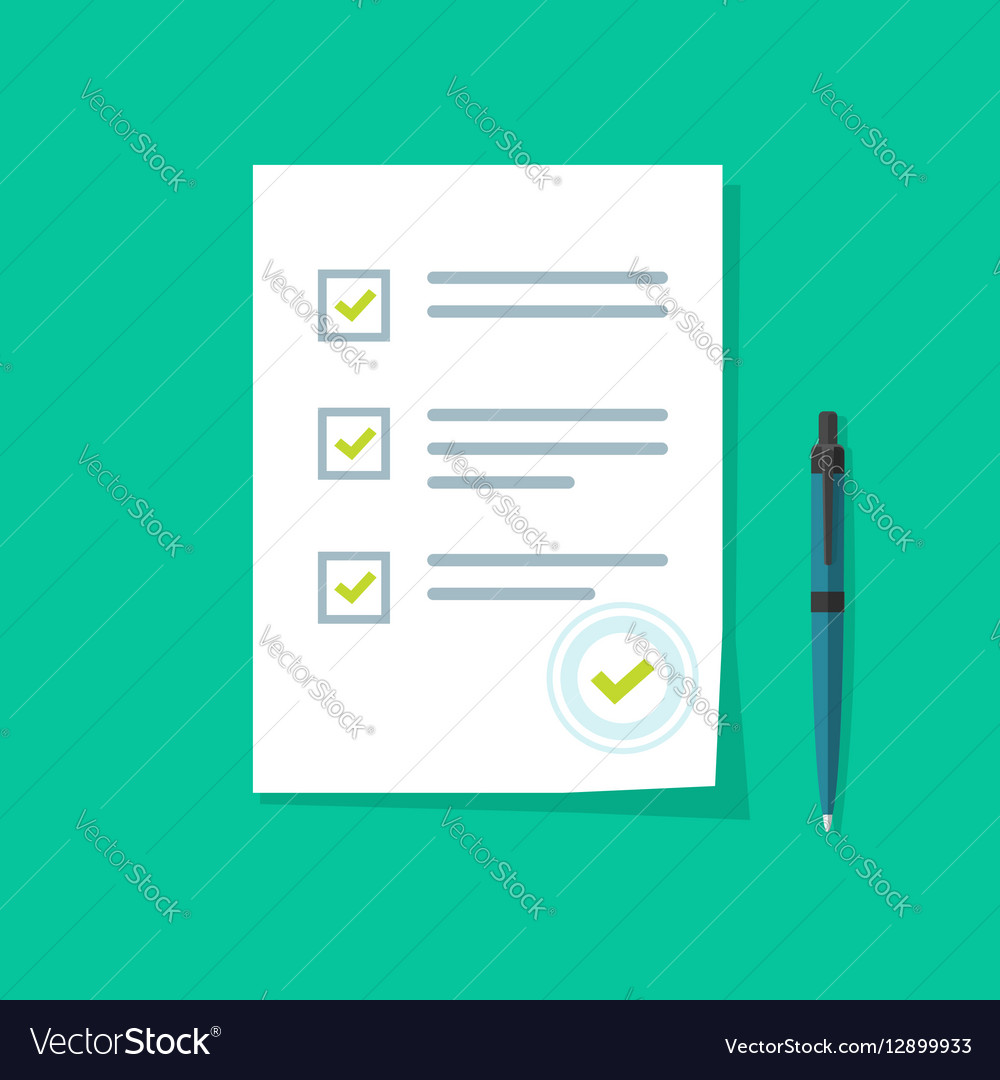 Survey form icon good exam results quiz vector image