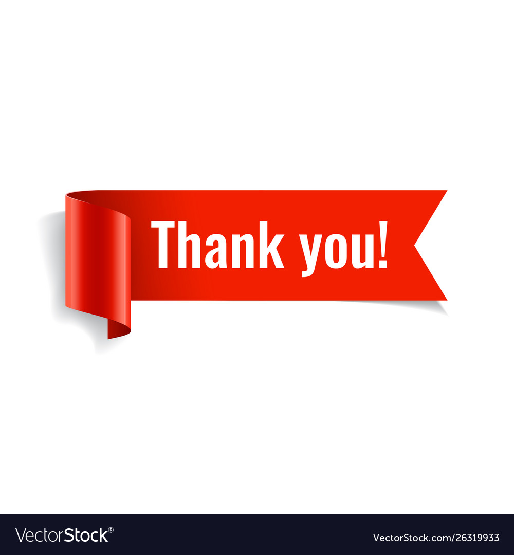 Thank you banner red paper twisted ribbon vector
