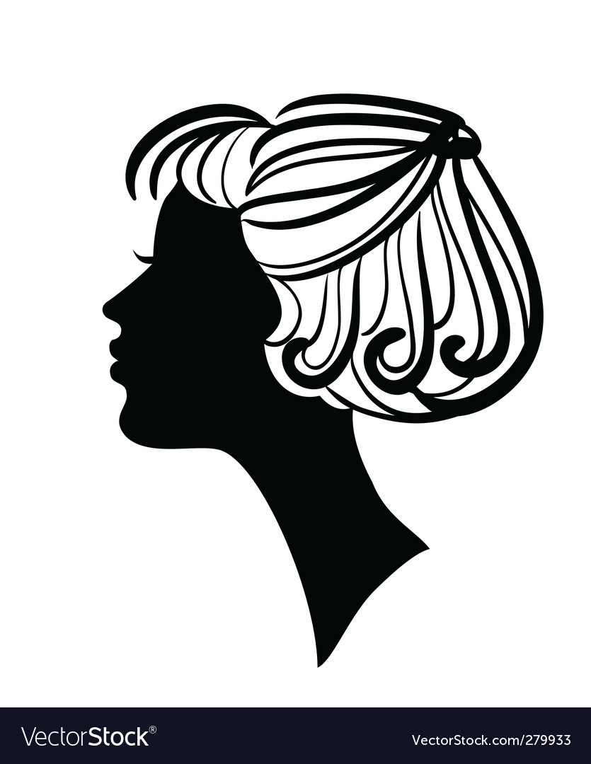 Beautiful Woman Silhouette With Stylish Hairstyle Vector