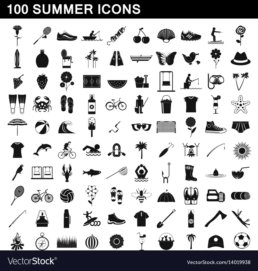 e351fe7b 100 summer icons set simple style Royalty Free Vector Image