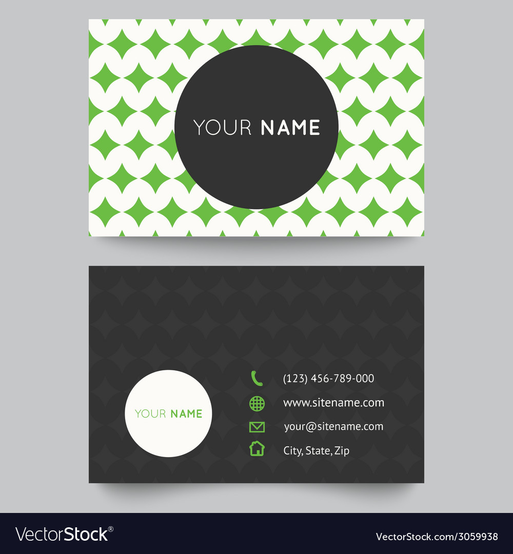 Business card template green and white pattern