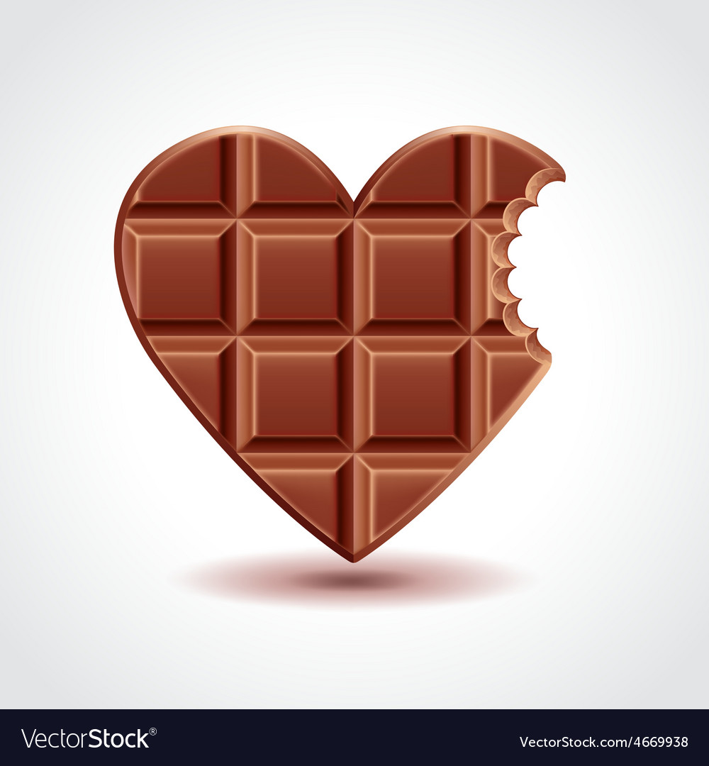 Chocolate heart love concept vector image